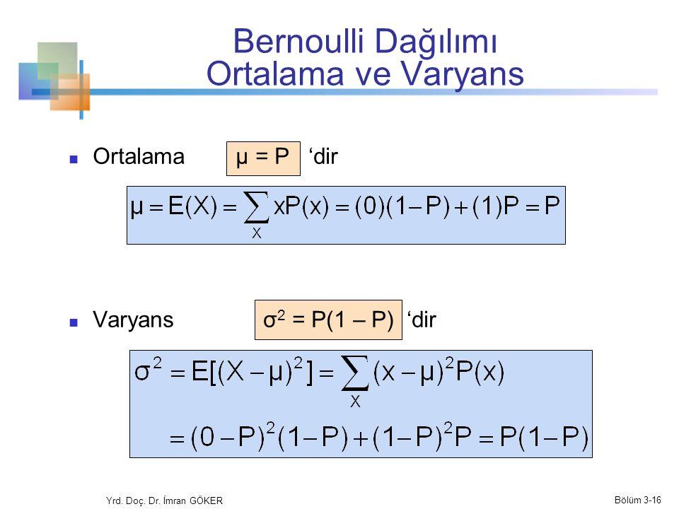 Bernoulli Dağılımı Ortalama ve Varyans Ortalama µ = P 'dir Varyans σ 2 = P(1 – P) 'dir Yrd. Doç. Dr. İmran GÖKER Bölüm 3-16