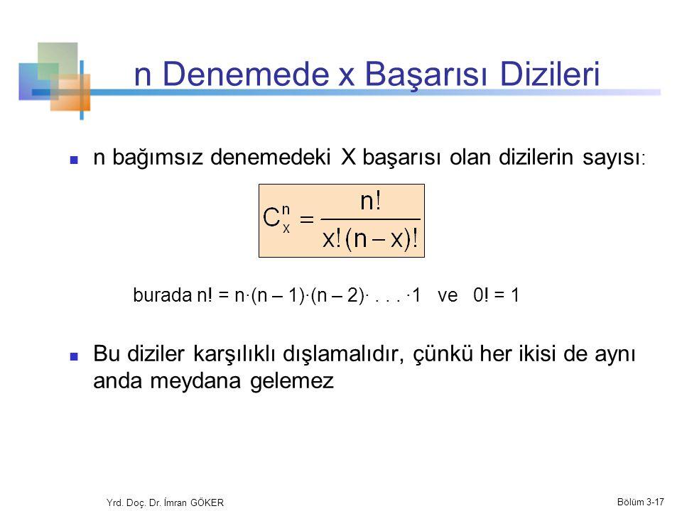 n Denemede x Başarısı Dizileri n bağımsız denemedeki X başarısı olan dizilerin sayısı : burada n! = n·(n – 1)·(n – 2)·... ·1 ve 0! = 1 Bu diziler karş