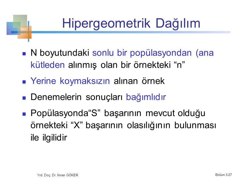 """Hipergeometrik Dağılım N boyutundaki sonlu bir popülasyondan (ana kütleden alınmış olan bir örnekteki """"n"""" Yerine koymaksızın alınan örnek Denemelerin"""