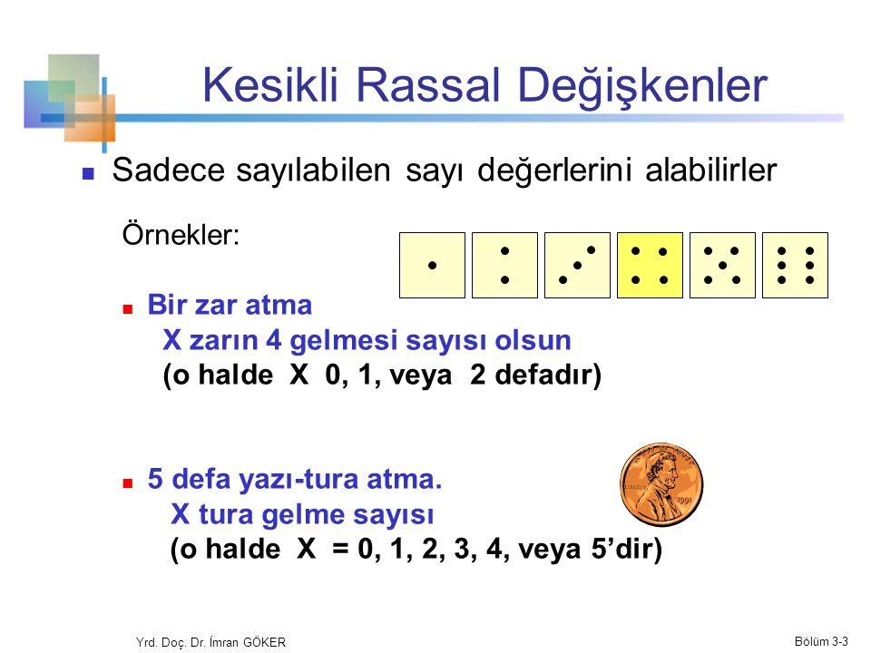 Kesikli Rassal Değişkenler Sadece sayılabilen sayı değerlerini alabilirler Örnekler: Bir zar atma X zarın 4 gelmesi sayısı olsun (o halde X 0, 1, veya