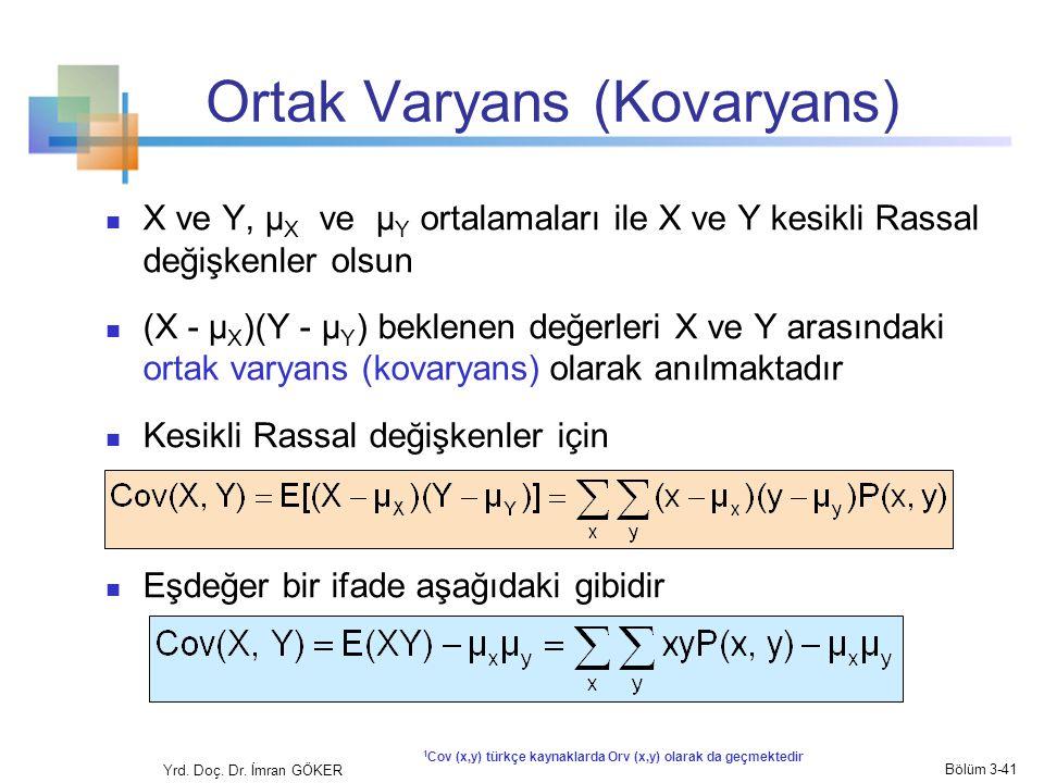 Ortak Varyans (Kovaryans) X ve Y, μ X ve μ Y ortalamaları ile X ve Y kesikli Rassal değişkenler olsun (X - μ X )(Y - μ Y ) beklenen değerleri X ve Y a