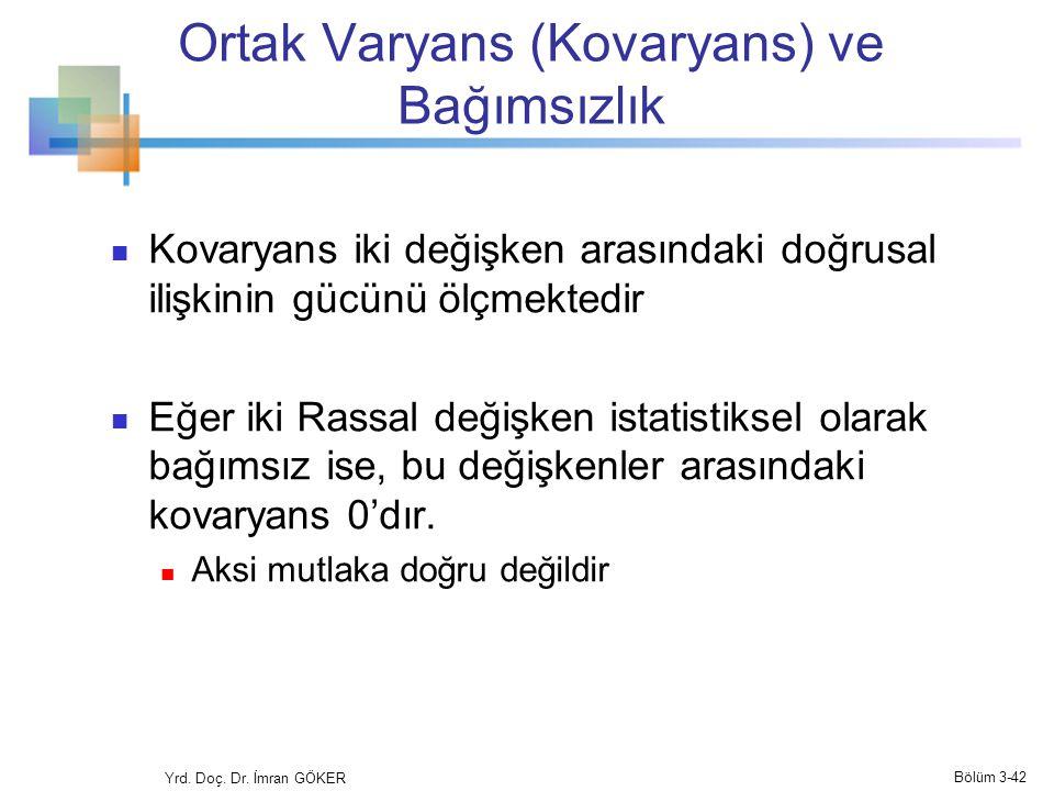 Ortak Varyans (Kovaryans) ve Bağımsızlık Kovaryans iki değişken arasındaki doğrusal ilişkinin gücünü ölçmektedir Eğer iki Rassal değişken istatistikse