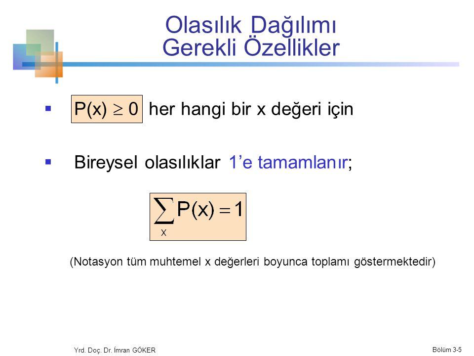 Olasılık Dağılımı Gerekli Özellikler  P(x)  0 her hangi bir x değeri için  Bireysel olasılıklar 1'e tamamlanır; (Notasyon tüm muhtemel x değerleri