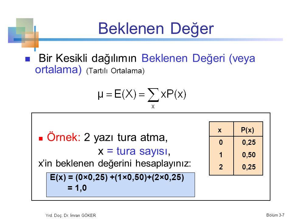 Beklenen Değer Bir Kesikli dağılımın Beklenen Değeri (veya ortalama) (Tartılı Ortalama) Örnek: 2 yazı tura atma, x = tura sayısı, x'in beklenen değeri