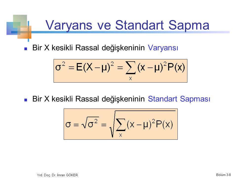 Standart Sapma (Örnek) Örnek: 2 kez yazı-tura atılmaktadır, X tura sayısıdır, standart sapmayı hesaplayınız (E(x) = 1 olduğunu hatırlayınız) Muhtemel tura sayısı = 0, 1, or 2 Yrd.
