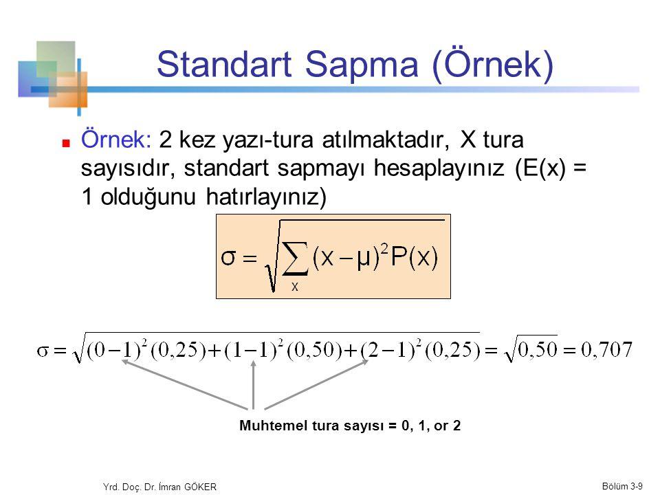 Standart Sapma (Örnek) Örnek: 2 kez yazı-tura atılmaktadır, X tura sayısıdır, standart sapmayı hesaplayınız (E(x) = 1 olduğunu hatırlayınız) Muhtemel