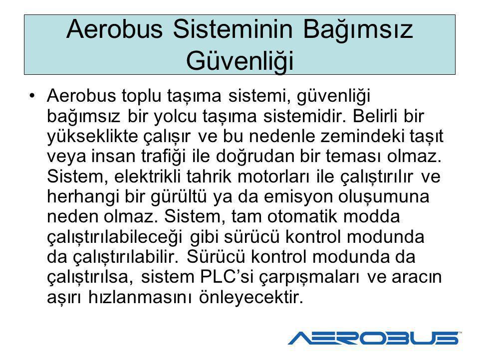 Aerobus Sisteminin Ba ğ ımsız Güvenli ğ i Aerobus toplu taşıma sistemi, güvenliği bağımsız bir yolcu taşıma sistemidir. Belirli bir yükseklikte çalışı