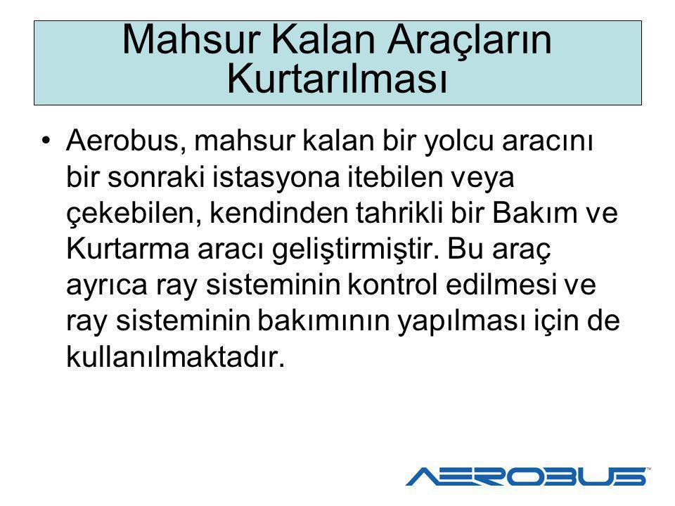 Yolcu Tahliyesi Aerobus araçları, kurulu vaziyette olan yolcu tahliye olanaklarına sahiptir.