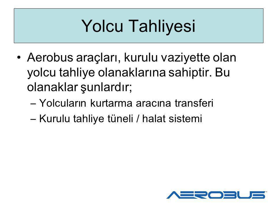Yolcu Tahliyesi Aerobus araçları, kurulu vaziyette olan yolcu tahliye olanaklarına sahiptir. Bu olanaklar şunlardır; –Yolcuların kurtarma aracına tran