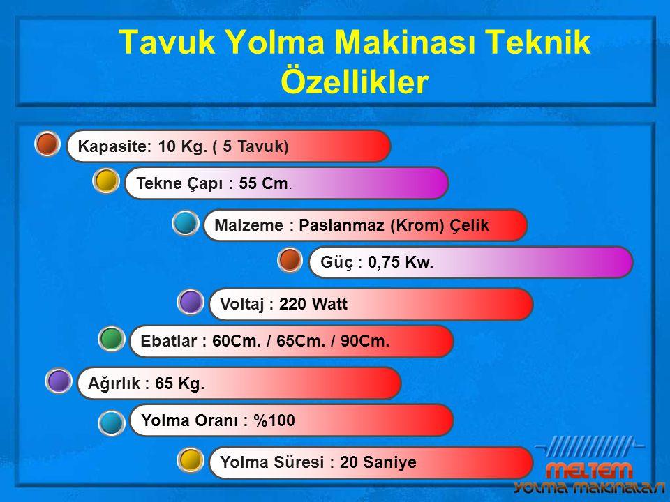 Tavuk Yolma Makinası Teknik Özellikler Ebatlar : 60Cm.