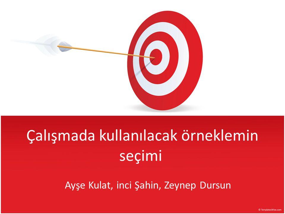 Çalışmada kullanılacak örneklemin seçimi Ayşe Kulat, inci Şahin, Zeynep Dursun