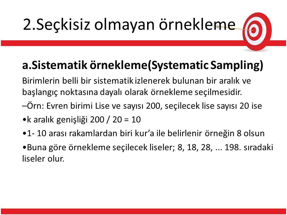 2.Seçkisiz olmayan örnekleme a.Sistematik örnekleme(Systematic Sampling) Birimlerin belli bir sistematik izlenerek bulunan bir aralık ve başlangıç nok