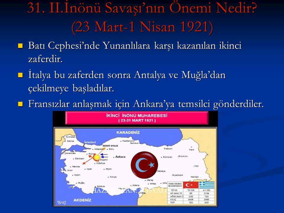 Savaşlar. I. İnönü Savaşı'nın (6-10 Ocak 1921). I. İnönü Savaşı'nın (6-10 Ocak 1921) Düzenli ordunun Batı Cephesi'nde Yunanlılara karşı kazandığı ilk