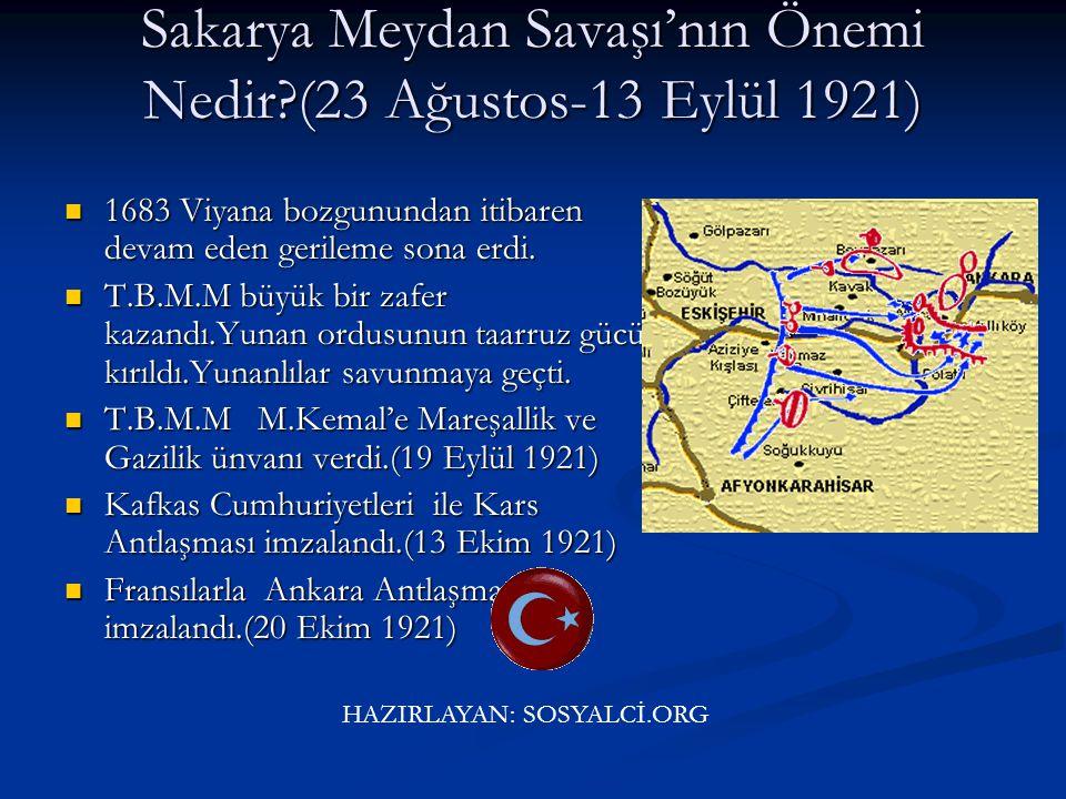 31. II.İnönü Savaşı'nın Önemi Nedir? (23 Mart-1 Nisan 1921) Batı Cephesi'nde Yunanlılara karşı kazanılan ikinci zaferdir. Batı Cephesi'nde Yunanlılara
