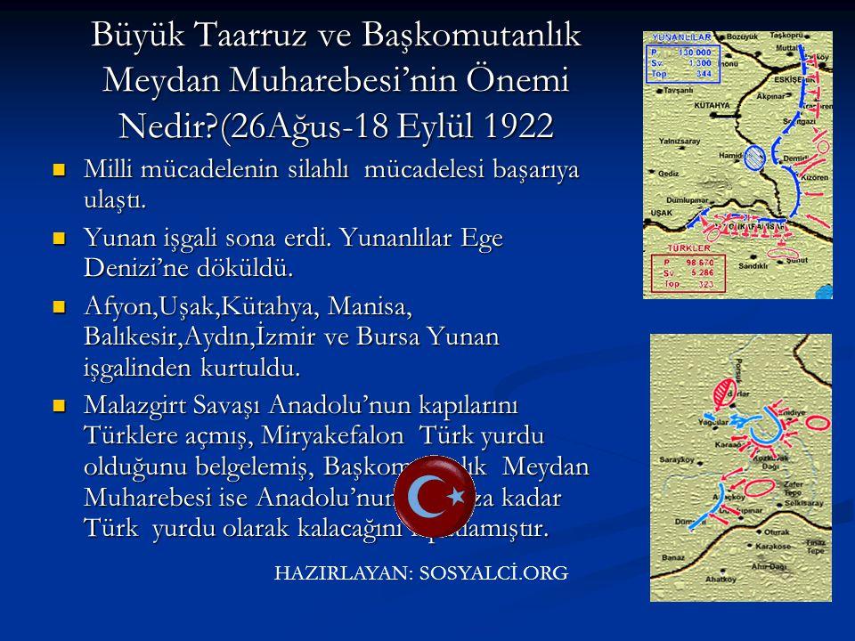 Sakarya Meydan Savaşı'nın Önemi Nedir?(23 Ağustos-13 Eylül 1921) 1683 Viyana bozgunundan itibaren devam eden gerileme sona erdi. 1683 Viyana bozgunund