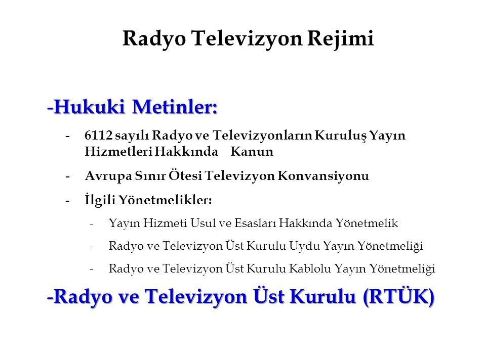 Radyo Televizyon Rejimi - Hukuki Metinler: - 6112 sayılı Radyo ve Televizyonların Kuruluş Yayın Hizmetleri Hakkında Kanun - Avrupa Sınır Ötesi Televiz