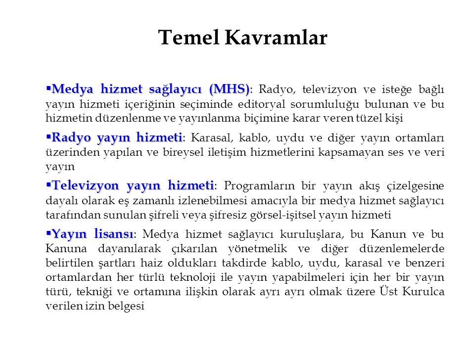 Medya Hizmet Sağlayıcılar (MHS)  TRT:  Özel Medya Hizmet Sağlayıcılar: Türk Ticaret Kanunu hükümlerine göre kurulmuş anonim şirket olması gerekir.