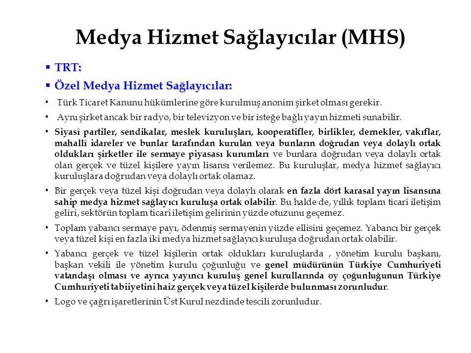 Medya Hizmet Sağlayıcılar (MHS)  TRT:  Özel Medya Hizmet Sağlayıcılar: Türk Ticaret Kanunu hükümlerine göre kurulmuş anonim şirket olması gerekir. A