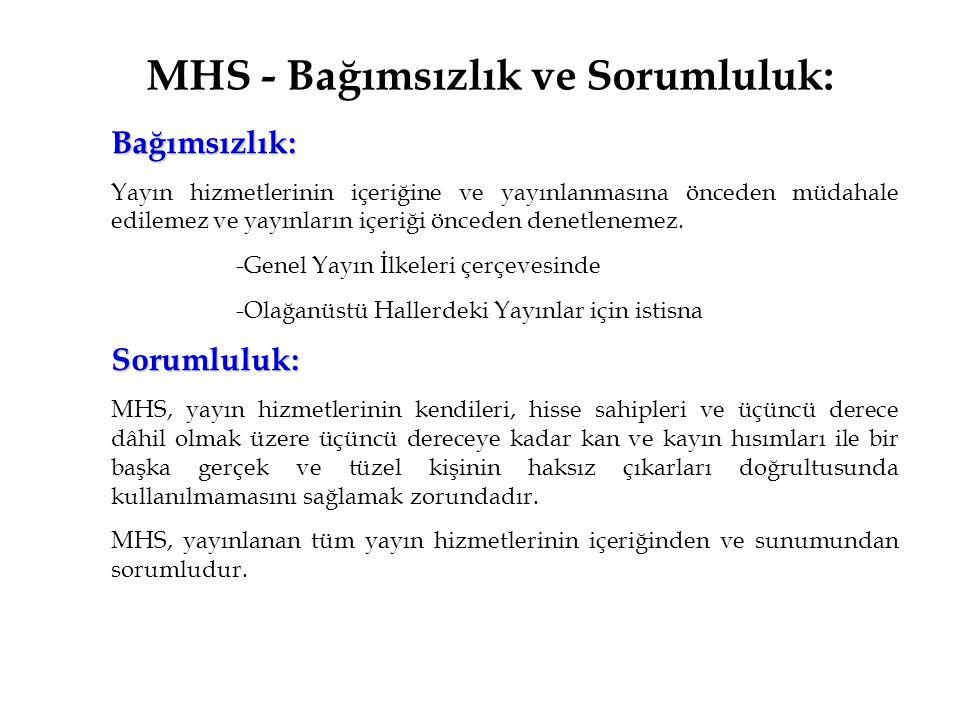 MHS - Bağımsızlık ve Sorumluluk: Bağımsızlık: Yayın hizmetlerinin içeriğine ve yayınlanmasına önceden müdahale edilemez ve yayınların içeriği önceden denetlenemez.