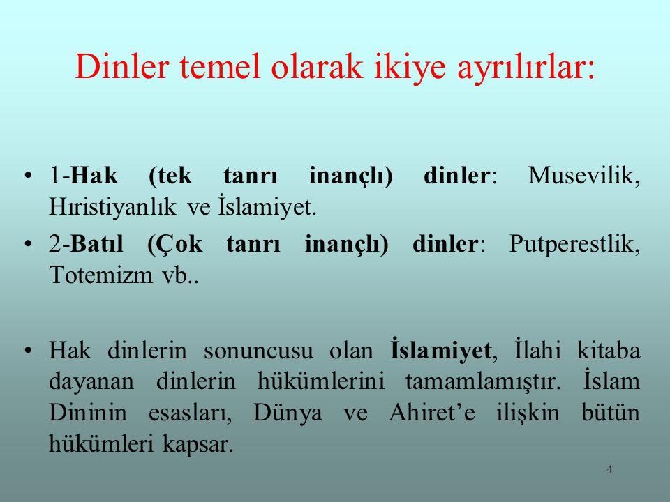 4 Dinler temel olarak ikiye ayrılırlar: 1-Hak (tek tanrı inançlı) dinler: Musevilik, Hıristiyanlık ve İslamiyet. 2-Batıl (Çok tanrı inançlı) dinler: P