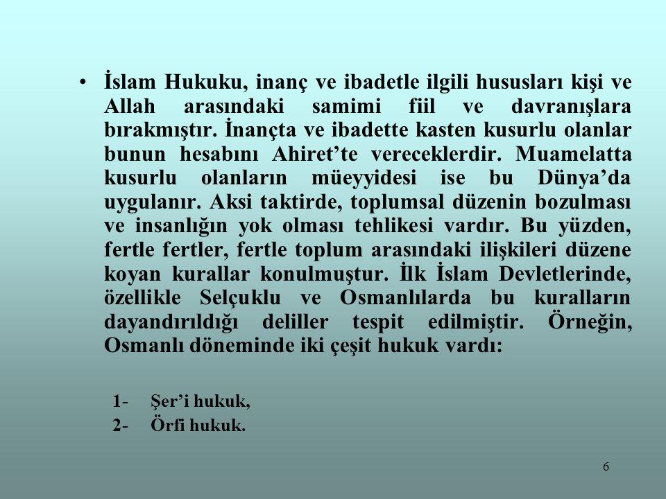 6 İslam Hukuku, inanç ve ibadetle ilgili hususları kişi ve Allah arasındaki samimi fiil ve davranışlara bırakmıştır. İnançta ve ibadette kasten kusurl