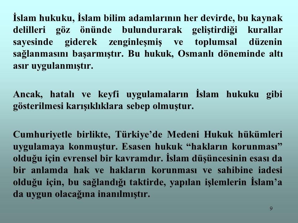 9 İslam hukuku, İslam bilim adamlarının her devirde, bu kaynak delilleri göz önünde bulundurarak geliştirdiği kurallar sayesinde giderek zenginleşmiş