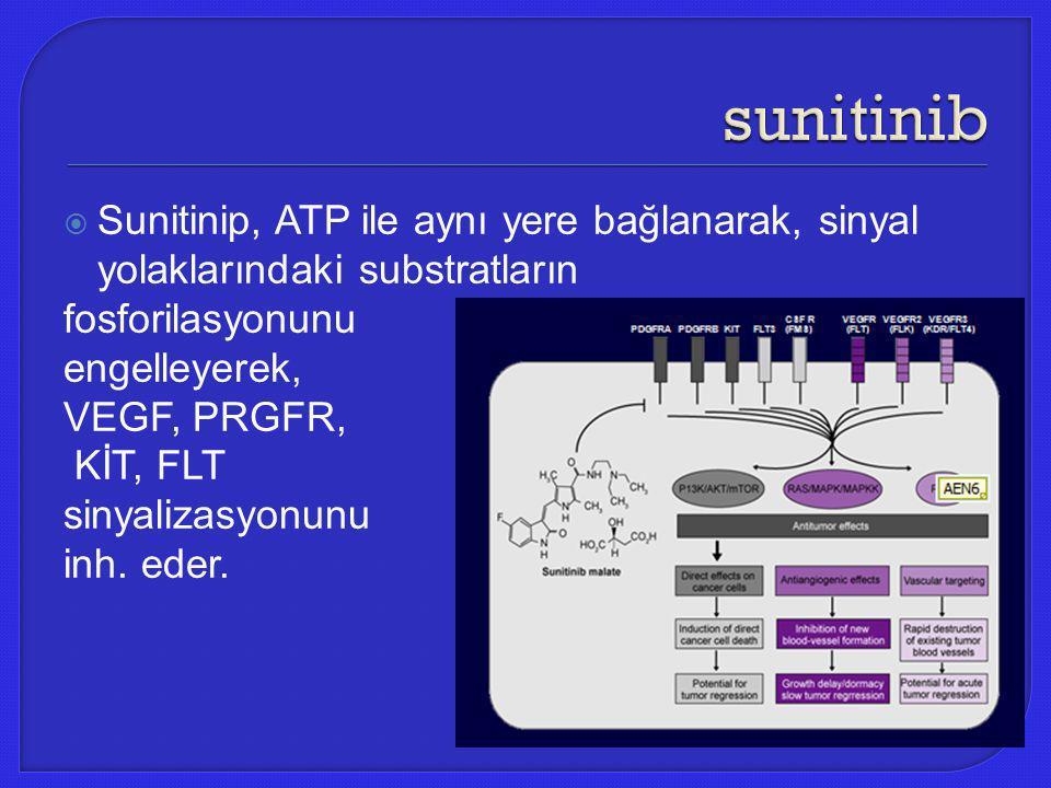  Sunitinip, ATP ile aynı yere bağlanarak, sinyal yolaklarındaki substratların fosforilasyonunu engelleyerek, VEGF, PRGFR, KİT, FLT sinyalizasyonunu i