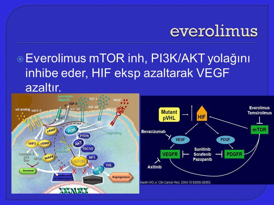  Everolimus mTOR inh, PI3K/AKT yolağını inhibe eder, HIF eksp azaltarak VEGF azaltır.