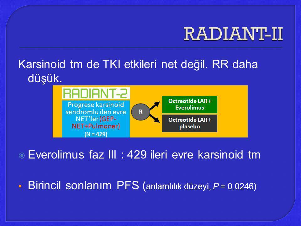 Karsinoid tm de TKI etkileri net değil. RR daha düşük.  Everolimus faz III : 429 ileri evre karsinoid tm  Birincil sonlanım PFS ( anlamlılık düzeyi,
