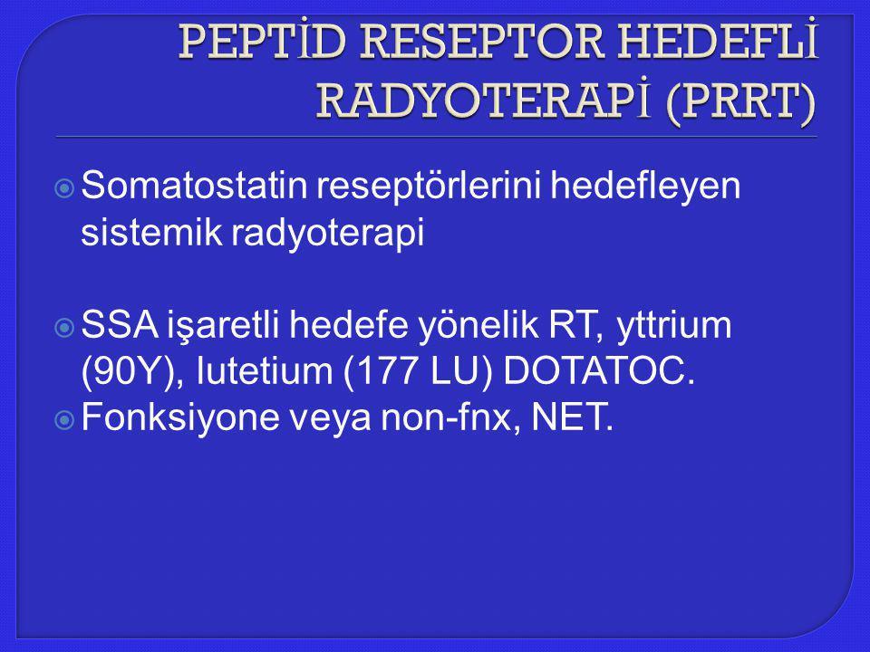  Somatostatin reseptörlerini hedefleyen sistemik radyoterapi  SSA işaretli hedefe yönelik RT, yttrium (90Y), lutetium (177 LU) DOTATOC.  Fonksiyone