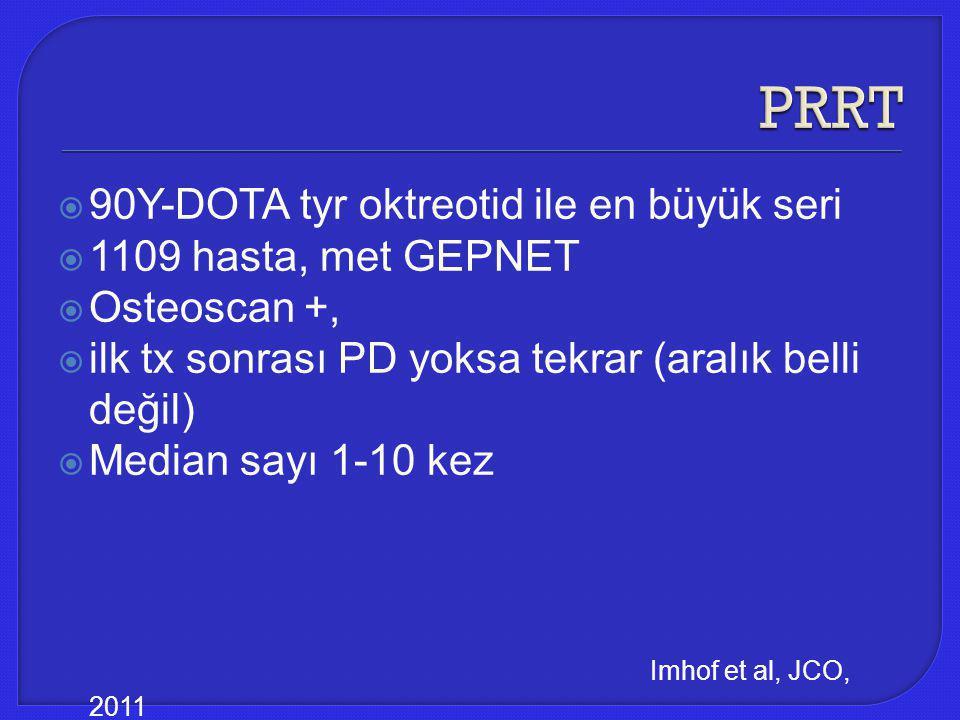  90Y-DOTA tyr oktreotid ile en büyük seri  1109 hasta, met GEPNET  Osteoscan +,  ilk tx sonrası PD yoksa tekrar (aralık belli değil)  Median sayı