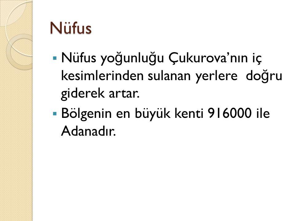 Nüfus  Nüfus yo ğ unlu ğ u Çukurova'nın iç kesimlerinden sulanan yerlere do ğ ru giderek artar.  Bölgenin en büyük kenti 916000 ile Adanadır.