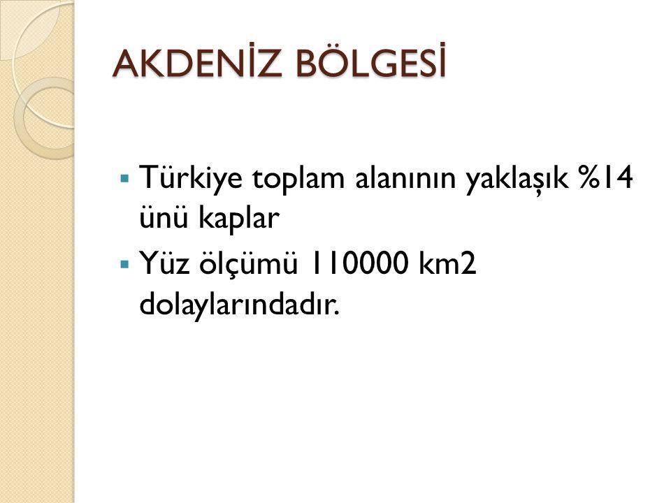 AKDEN İ Z BÖLGES İ  Türkiye toplam alanının yaklaşık %14 ünü kaplar  Yüz ölçümü 110000 km2 dolaylarındadır.