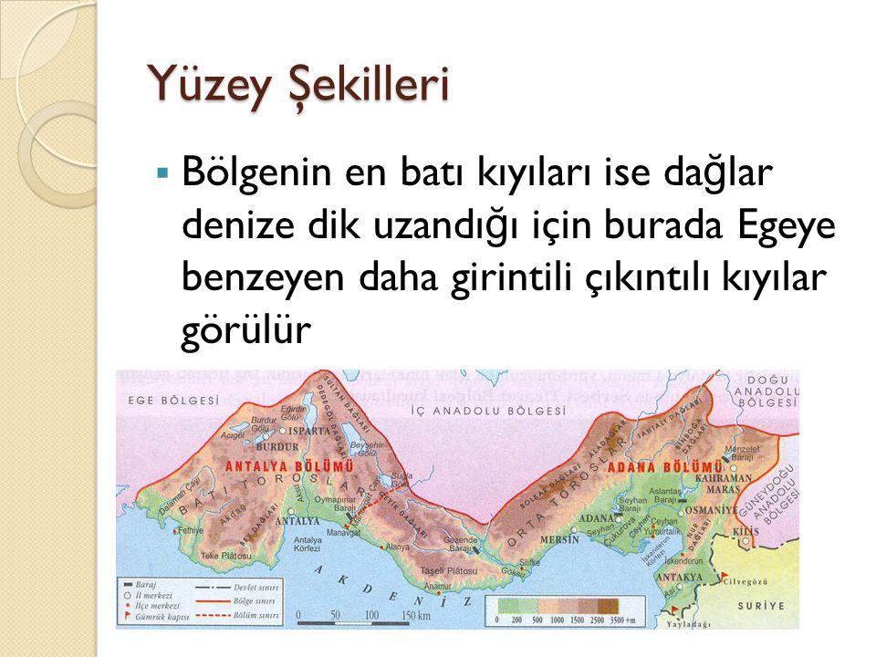 Yüzey Şekilleri  Bölgenin en batı kıyıları ise da ğ lar denize dik uzandı ğ ı için burada Egeye benzeyen daha girintili çıkıntılı kıyılar görülür