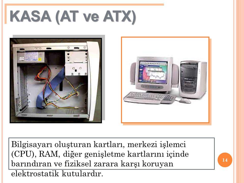 14 KASA (AT ve ATX) Bilgisayarı oluşturan kartları, merkezi işlemci (CPU), RAM, diğer genişletme kartlarını içinde barındıran ve fiziksel zarara karşı