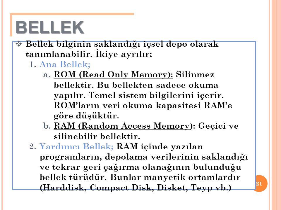 21  Bellek bilginin saklandığı içsel depo olarak tanımlanabilir. İkiye ayrılır; 1.Ana Bellek; a.ROM (Read Only Memory): Silinmez bellektir. Bu bellek