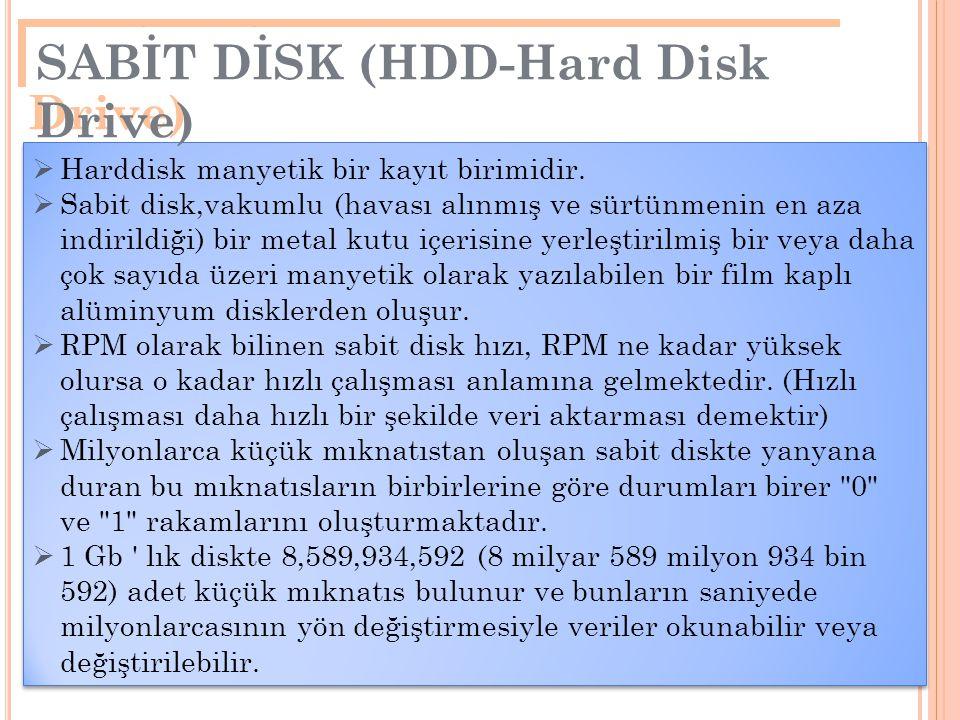 25  Harddisk manyetik bir kayıt birimidir.  Sabit disk,vakumlu (havası alınmış ve sürtünmenin en aza indirildiği) bir metal kutu içerisine yerleştir