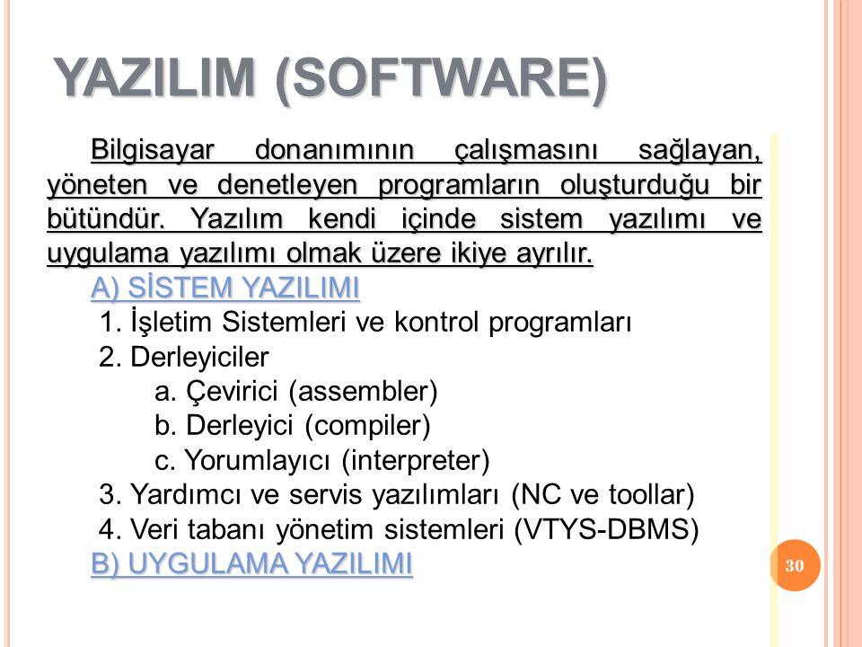 30 Bilgisayar donanımının çalışmasını sağlayan, yöneten ve denetleyen programların oluşturduğu bir bütündür. Yazılım kendi içinde sistem yazılımı ve u