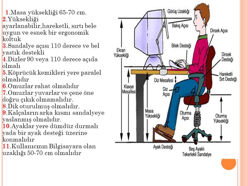 1.Masa yüksekliği 65-70 cm. 2.Yüksekliği ayarlanabilir,hareketli, sırtı bele uygun ve esnek bir ergonomik koltuk 3.Sandalye açısı 110 derece ve bel ya