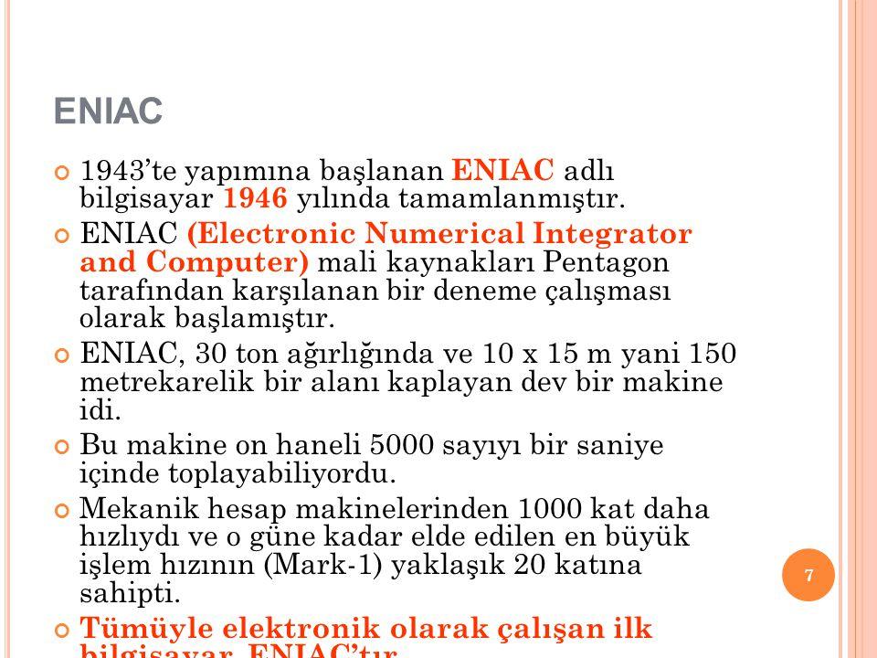 ENIAC 1943'te yapımına başlanan ENIAC adlı bilgisayar 1946 yılında tamamlanmıştır. ENIAC (Electronic Numerical Integrator and Computer) mali kaynaklar