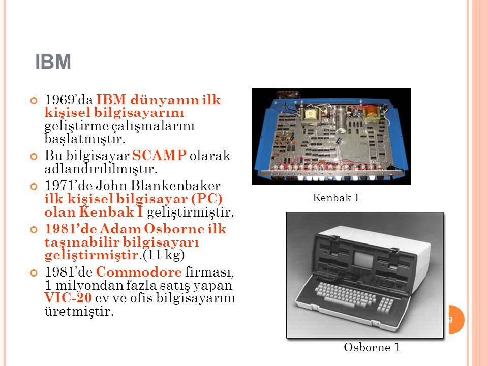 IBM 1969'da IBM dünyanın ilk kişisel bilgisayarını geliştirme çalışmalarını başlatmıştır. Bu bilgisayar SCAMP olarak adlandırılılmıştır. 1971'de John