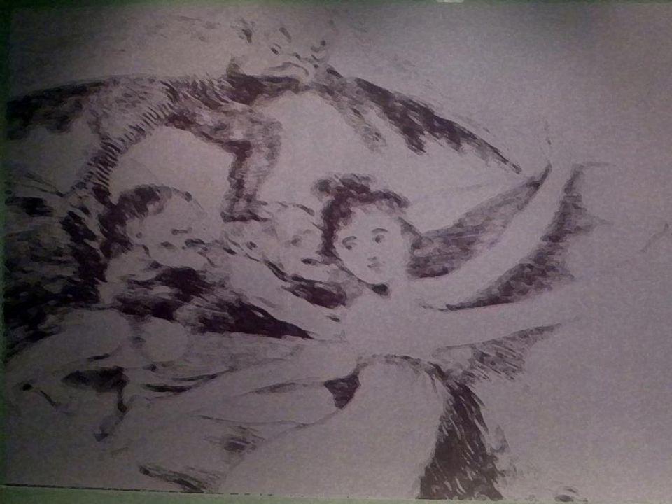 Beyhude feryatlar Aside yedirme baskı,suluboya, çelik uç ve perdah kalemi, Özel Koleksiyon,Madrid Vain laments Etching, watercolor, chisel, and burnisher, Private collection,Madrid