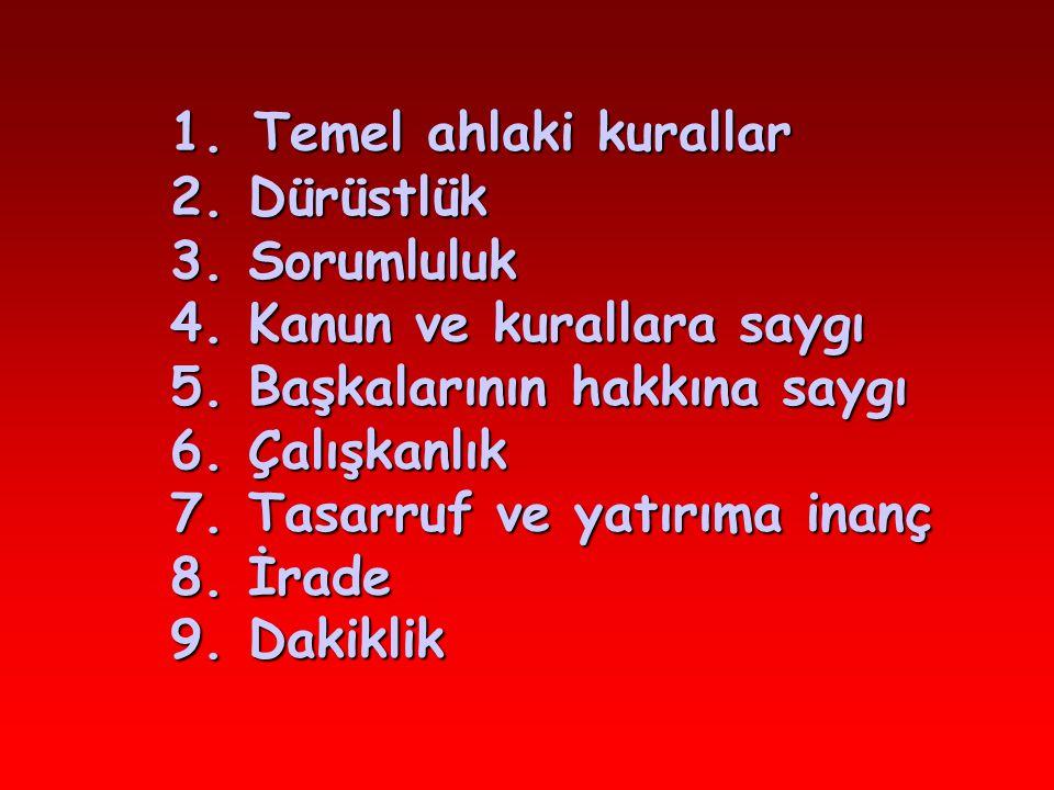 1.Temel ahlaki kurallar 2. Dürüstlük 3. Sorumluluk 4.