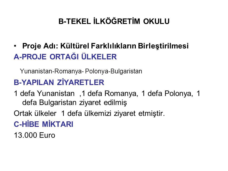 B-TEKEL İLKÖĞRETİM OKULU Proje Adı: Kültürel Farklılıkların Birleştirilmesi A-PROJE ORTAĞI ÜLKELER Yunanistan-Romanya- Polonya-Bulgaristan B-YAPILAN Z