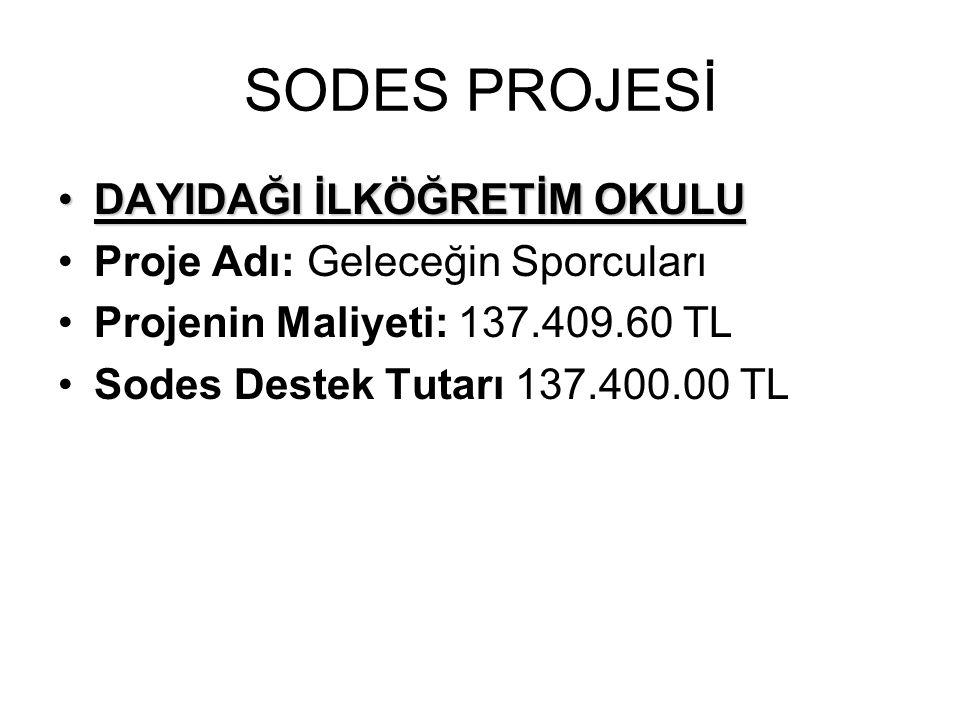 SODES PROJESİ DAYIDAĞI İLKÖĞRETİM OKULUDAYIDAĞI İLKÖĞRETİM OKULU Proje Adı: Geleceğin Sporcuları Projenin Maliyeti: 137.409.60 TL Sodes Destek Tutarı
