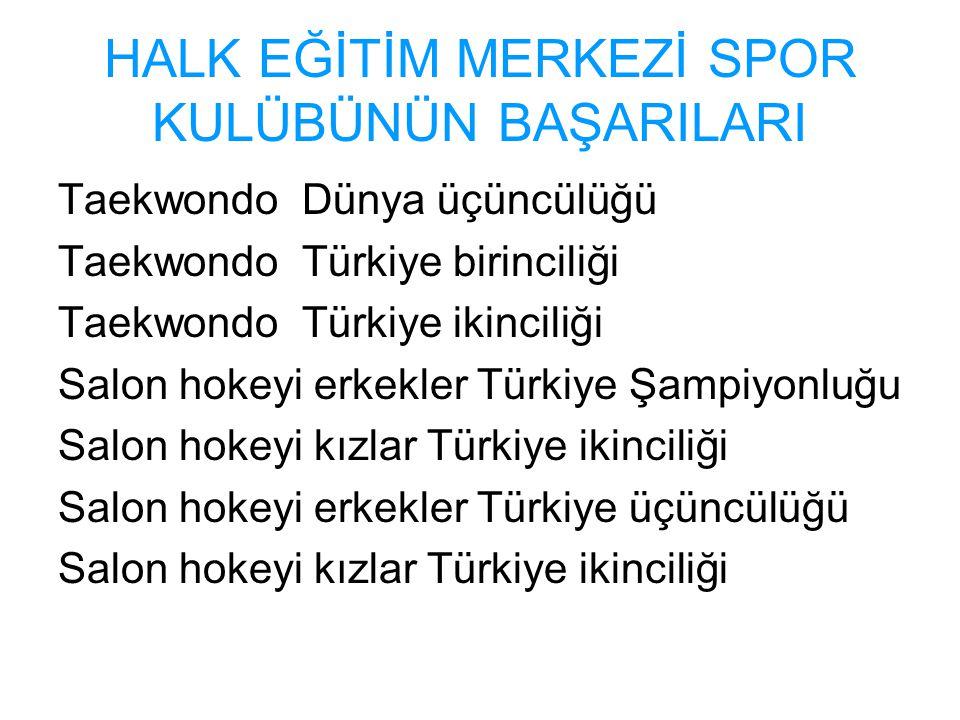 HALK EĞİTİM MERKEZİ SPOR KULÜBÜNÜN BAŞARILARI Taekwondo Dünya üçüncülüğü Taekwondo Türkiye birinciliği Taekwondo Türkiye ikinciliği Salon hokeyi erkek