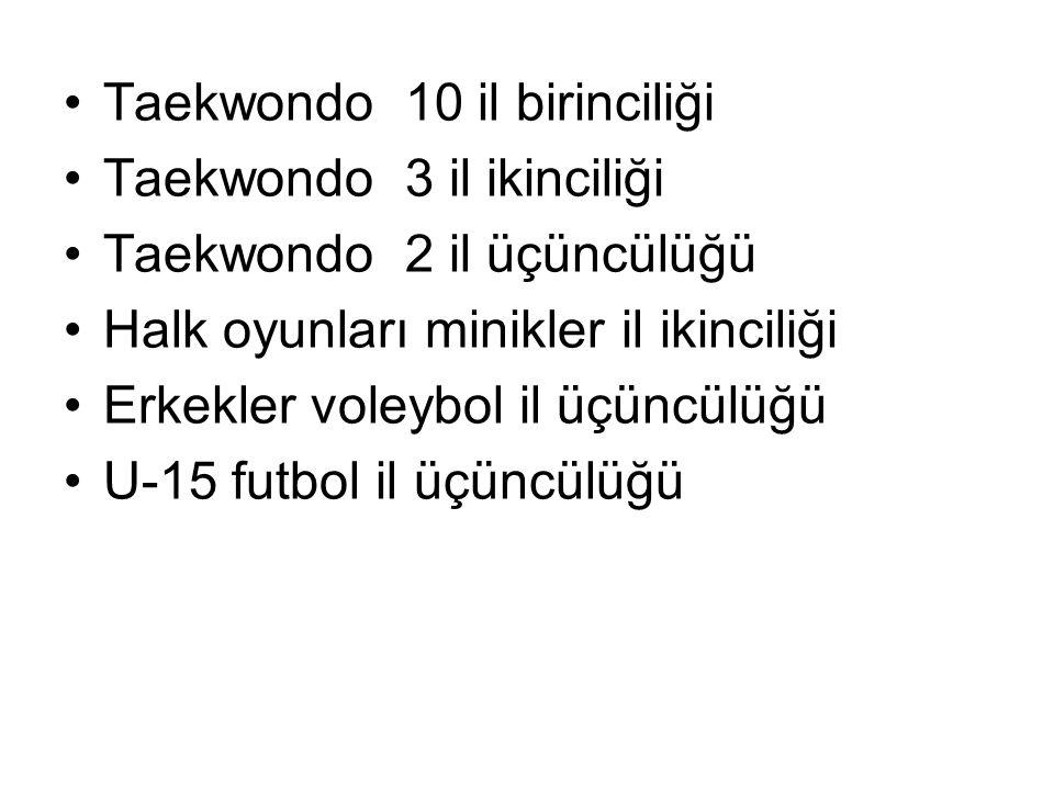Taekwondo 10 il birinciliği Taekwondo 3 il ikinciliği Taekwondo 2 il üçüncülüğü Halk oyunları minikler il ikinciliği Erkekler voleybol il üçüncülüğü U