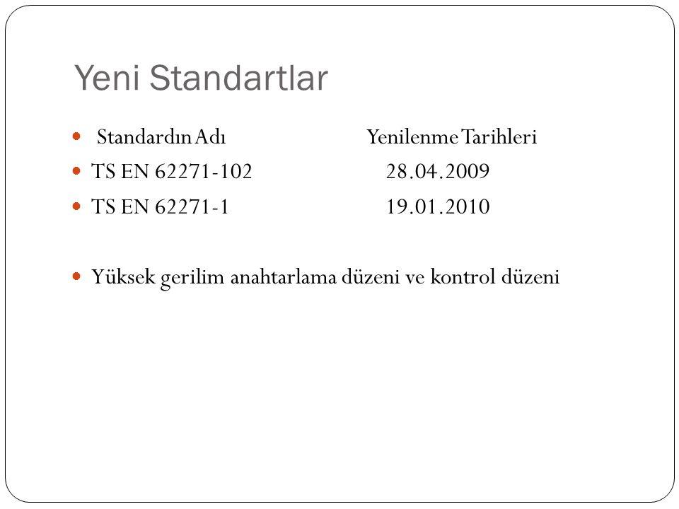 Yeni Standartlar Standardın Adı Yenilenme Tarihleri TS EN 62271-102 28.04.2009 TS EN 62271-1 19.01.2010 Yüksek gerilim anahtarlama düzeni ve kontrol d