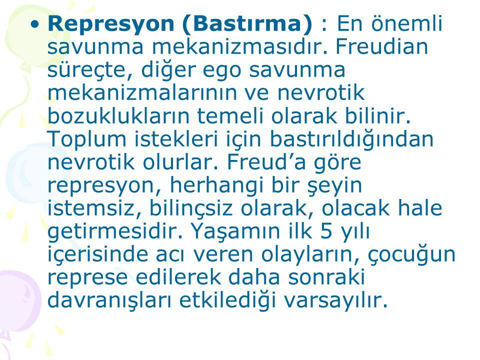 Represyon (Bastırma) : En önemli savunma mekanizmasıdır. Freudian süreçte, diğer ego savunma mekanizmalarının ve nevrotik bozuklukların temeli olarak