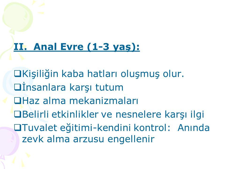 II. Anal Evre (1-3 yaş):  Kişiliğin kaba hatları oluşmuş olur.  İnsanlara karşı tutum  Haz alma mekanizmaları  Belirli etkinlikler ve nesnelere ka